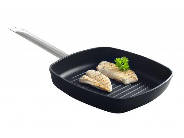 Hendi Poêle à Griller Aluminium | Poignée Inox | 280x280x55mm
