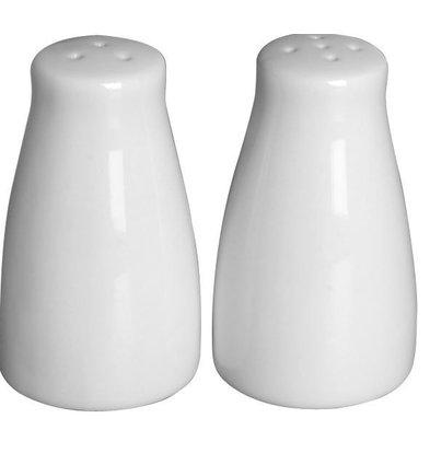 Hendi Ménagère Porcelaine - Set de 2 Pièces: Poivre, Sel - Ø42x80(h)mm
