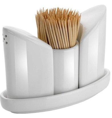 Hendi Ménagère Porcelaine - Set de 3 Pièces: Poivre, Sel, Pot à Cure-Dents - 125x54x90(h)mm