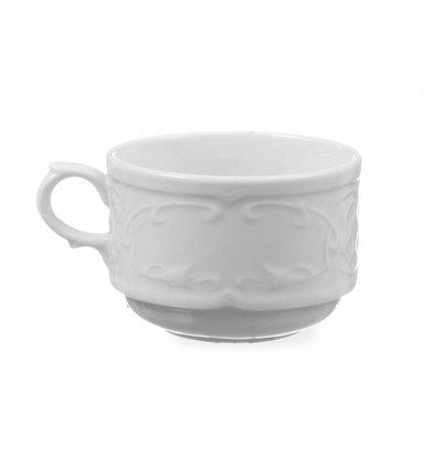 Hendi Tasse à Cappuccino Flora - Porcelaine Blanche - 250ml