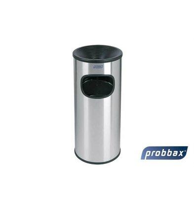 CHRselect Poubelle avec Cendrier | Inox | Récipient Intérieur 30 Litres | 250x250x650(h)mm