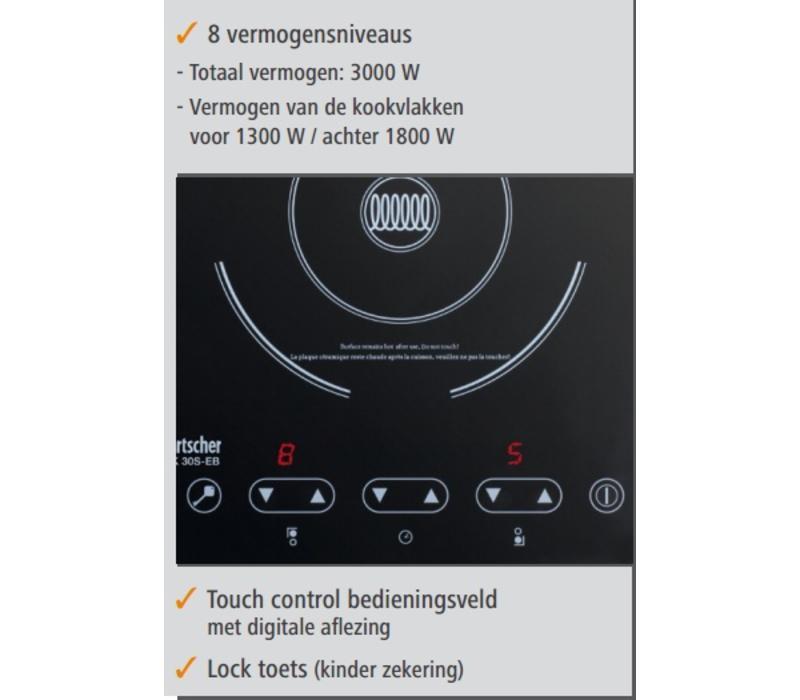 Bartscher Réchaud à Induction | Surface Vitrocéramique | 3kW | 290x510x83(h)mm