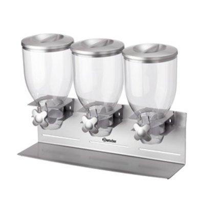 Bartscher Distributeur de Céréales Double | Plastique | 3x 3,5 Litres | 540x170x395(h)mm