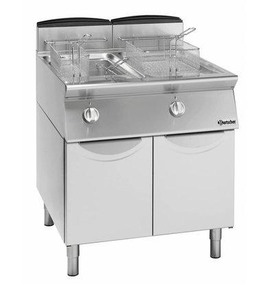 Bartscher Friteuse à Gaz Sur Armoire - 2x 13 Litres - 18,8kW - 600x700x850(h)mm