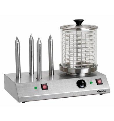 Bartscher Machine à Hot-Dogs Inox - Avec 4 Plots Chauffés - 960W - 500x285x390(h)mm