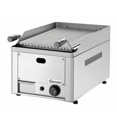 Bartscher Grill à Pierres De Lave à Gaz Inox - Modèle De Table + Grill - 4kW - 330x540x220(h)mm