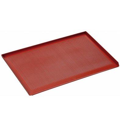 Bartscher Plaque Perforée à 3 Bordures Latérales + Revêtement Silicone - 400x600x15(h)mm