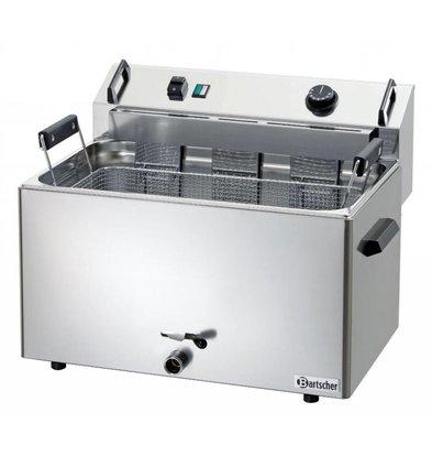 Bartscher Friteuse à Beignets Électrique Inox + Vanne de Vidange - 16 Litres - 560x470x400(h)mm