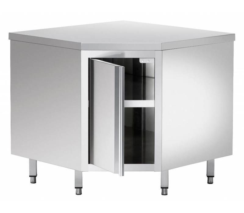 Bartscher Armoire D'Angle Inox - Étagère Intermédiaire | Ajustable | 1000x1000x850-900(h)mm