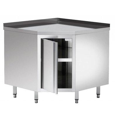 Bartscher Armoire D'Angle Inox + Bord 40mm + Étagère Intermédiaire - 900x900x850-900(h)mm