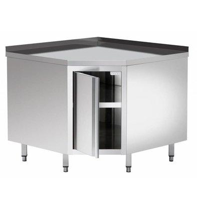 Bartscher Armoire D'Angle Inox + Bord 40mm + Étagère Intermédiaire - 1000x1000x850-900(h)mm
