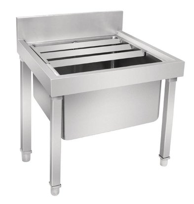 CHRselect Evier Profond Inox | Pieds Amovibles | Rebord 550mm | 500x500x450/550(h)mm