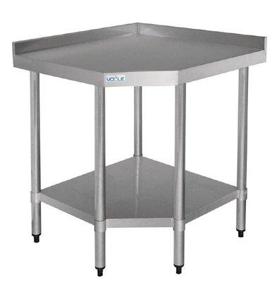 CHRselect Table d'Angle Inox + Étagère Basse | 900x700x960(h)mm
