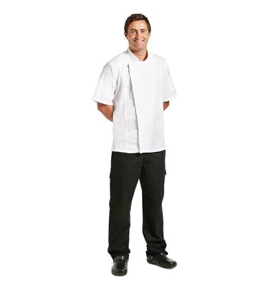 CHRselect Veste Chef + Fermeture Éclair | Blanc | Manches Courtes | Disponible en 4 Tailles