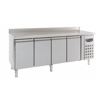 Combisteel Comptoir Réfrigéré Inox | 4 Portes | Rebord | 2230x700x850/950(h)mm