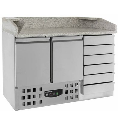 CHRselect Comptoir à Pizza Inox   2 Portes et 6 Tiroirs   1420x700x1060(h)mm