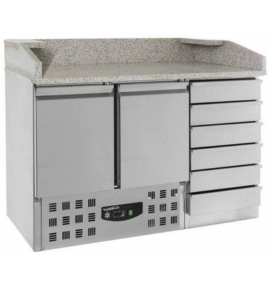 Combisteel Comptoir à Pizza Inox | 2 Portes et 6 Tiroirs | 1420x700x1060(h)mm