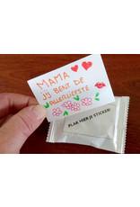 Luxe uitdeelbox met 54 per stuk verpakte Punselie's. 54 blanco stickers.