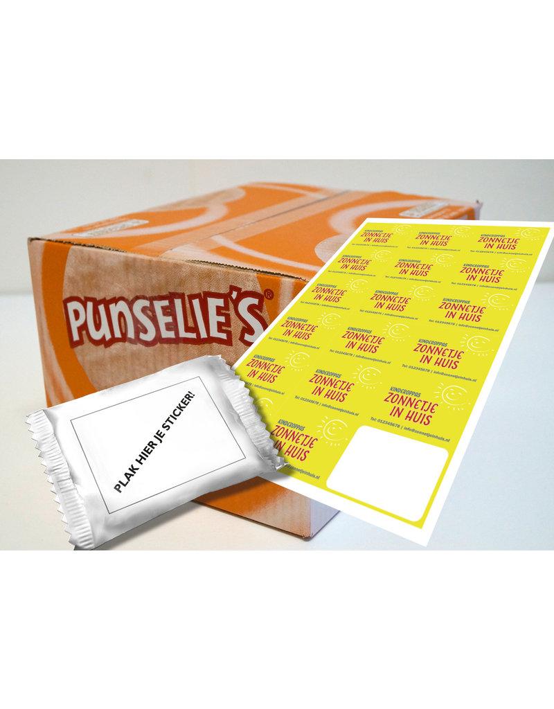 Uitdeeldoos met 300 per stuk verpakte Punselie's en 300 stickers met uw eigen ontwerp voorgedrukt - Copy