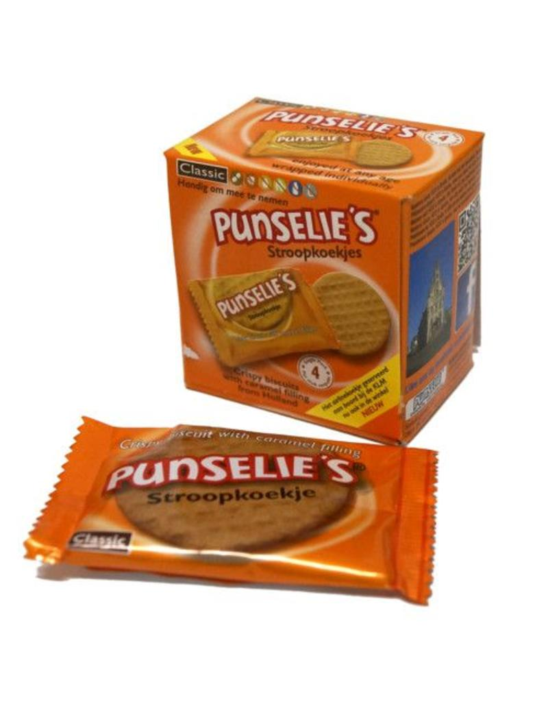 16 boxes Punselie To Go = 4 individually wrapped Punselie's biscuits per box.