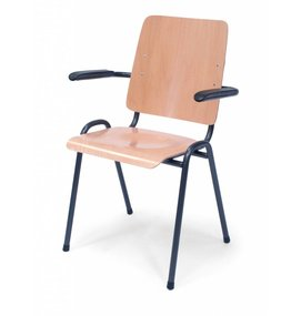Multi Meubel Zaal- Kerkstoel Time Out MET armleggers Blank Beuken - Houten stoelen