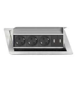 EVOLINE Evoline Inbouw Flip Top 3x Stroom + 2x USB Charge