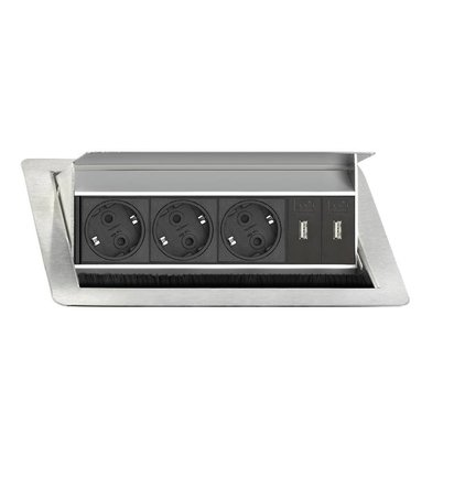 EVOLINE Evoline Inbouw Flip Top 3x Stroom + 2x USB Charge - EVOLINE