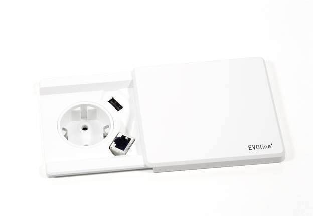EVOLINE Evoline Square 80 1xstroom 1x USB charger ZWART