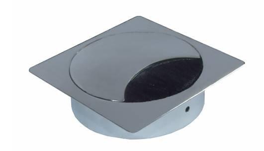 Multi Meubel Kabeldoorvoer metaal vierkant GLANS CHROOM