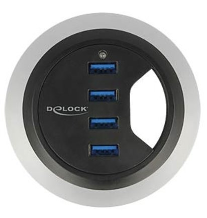 Multi Meubel DELOCK 62868: USB 3.0 Desk HUB 4-port, 60/80mm - Kunststof kabeldoorvoerdoppen
