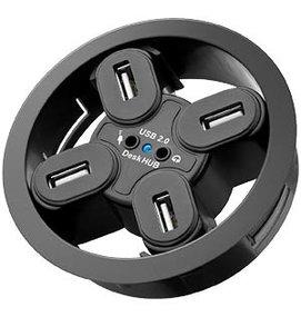 Multi Meubel Desk HUB 4 aansluitingen, audio 80mm, zwart - Stekkerdozen en Snoeren