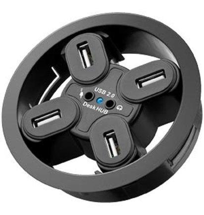 Multi Meubel Desk HUB 4 aansluitingen, audio 80mm, zwart - Kunststof kabeldoorvoerdoppen