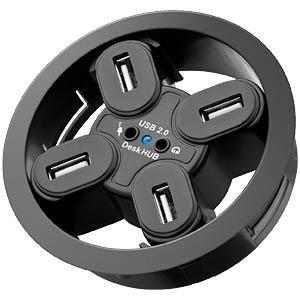 Multi Meubel Desk HUB 4 aansluitingen, audio 80mm, zwart