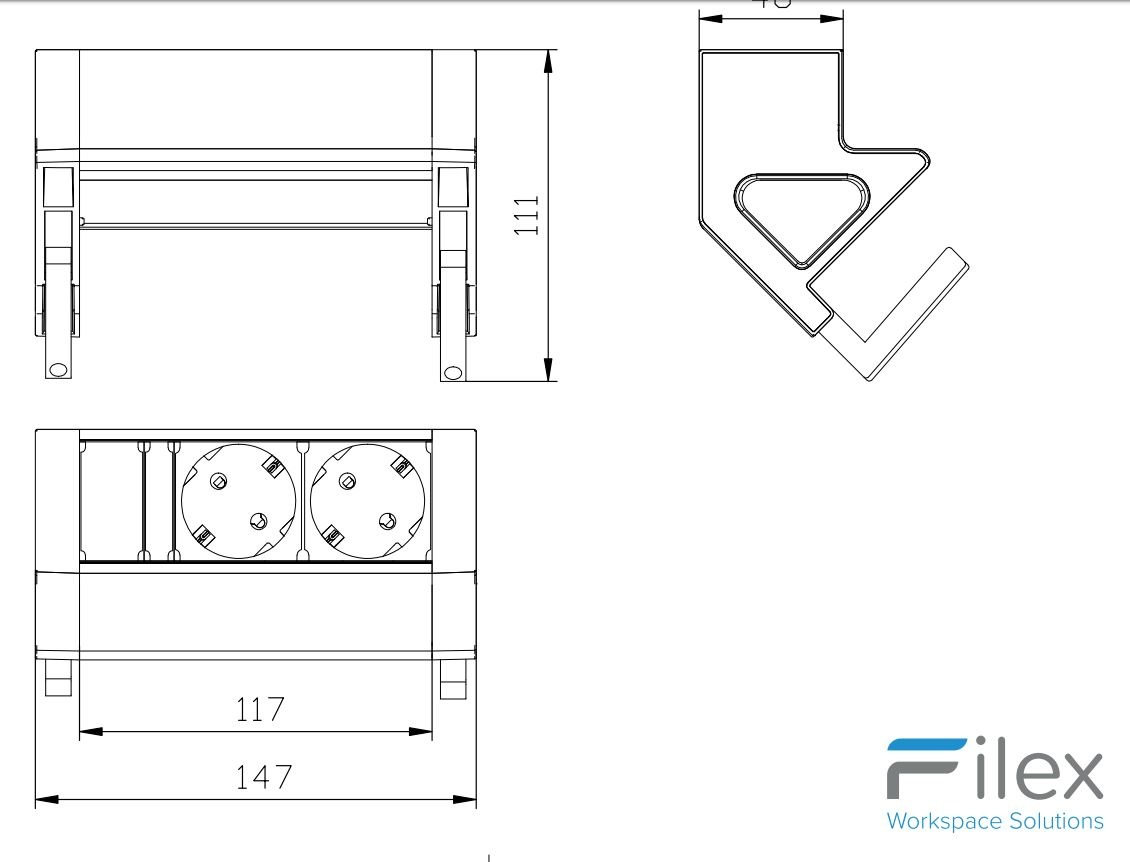 Multi Meubel Power Desk UP 2.0. 2x stroom
