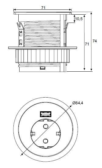 Multi Meubel Spot Inbouwmodule 1x Stroom 1x kabel doorvoer