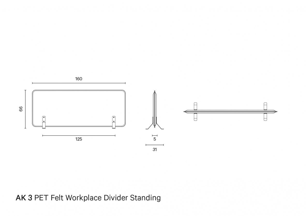 De Vorm AK3 Werkplekverdeler horizontaal