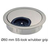 Multi Meubel Kabeldoorvoer rond 60 mm. Uitvoering RVS Optisch. Rubber afsluiting