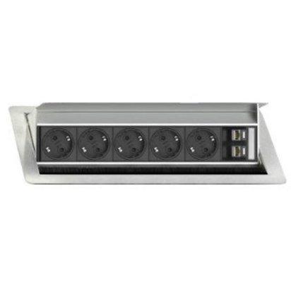 EVOLINE Evoline Inbouw Powerbox Flip Top Large 5 x stroom 2 x data - EVOLINE