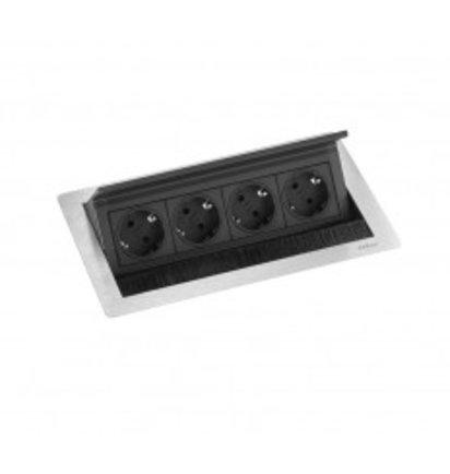 EVOLINE Evoline Inbouw Powerbox Flip Top Push Medium 4x Stroom - EVOLINE