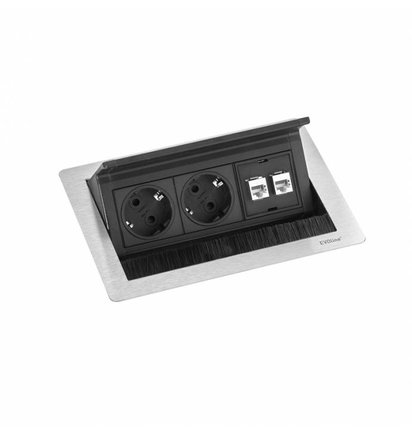 EVOLINE Evoline Inbouw Powerbox Flip Top Push Small 2x Stroom 2x Data - EVOLINE