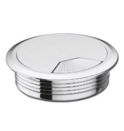 Multi Meubel Kabeldoorvoer dop Kunststof GLANS CHROOM kleur Rond 60 - Kunststof kabeldoorvoerdoppen