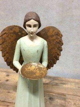 Houten engel met schaal