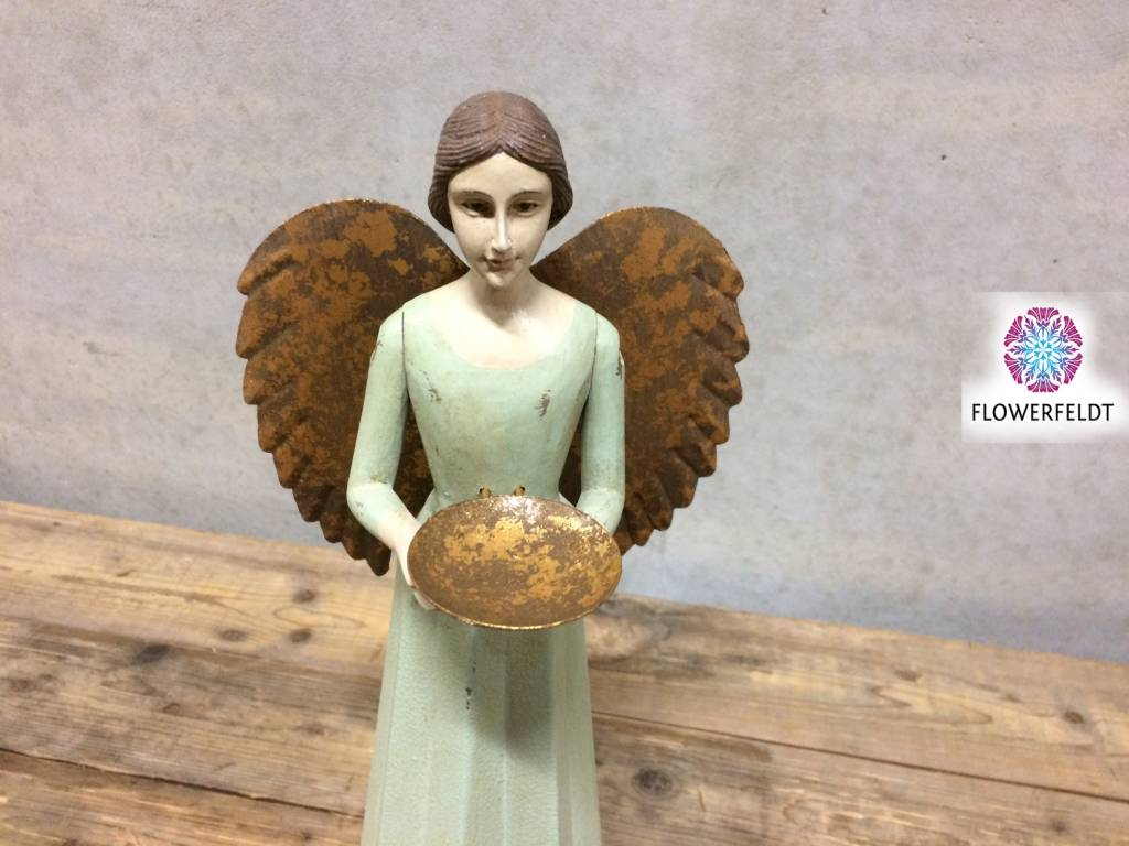 Wooden angel with plate - H36 cm