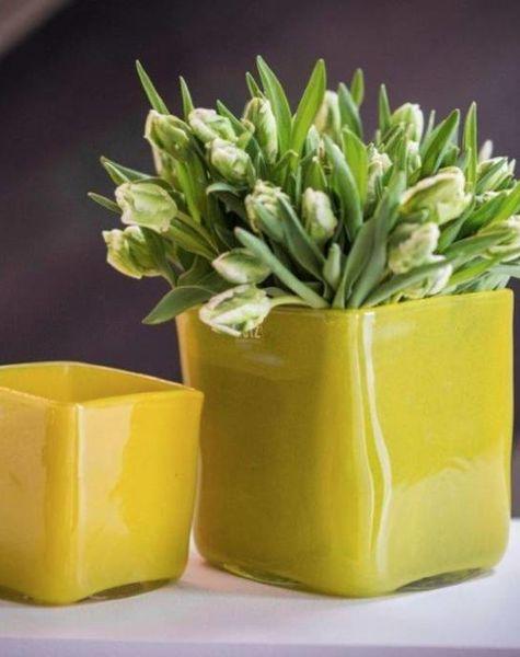 DutZ Pot square mustard - H14 cm/ H18 cm