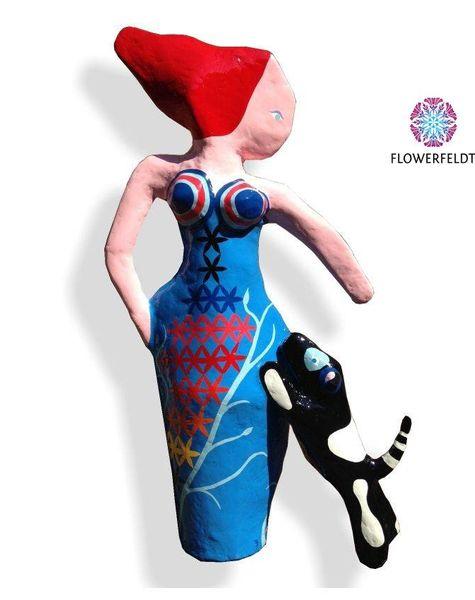 Art figure Dog and Woman