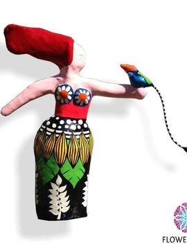 Art figure Exotic woman and bird