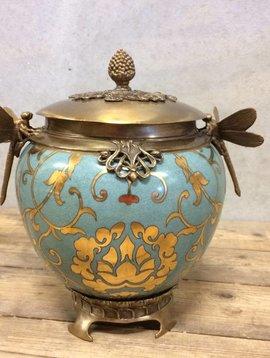 Bronzen pot met libellen (goud)