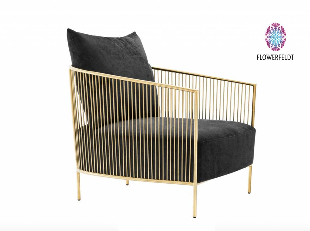 Eichholtz Design chair Knox in zwart goud