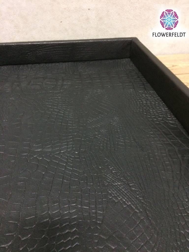 Pot en Vaas Leren dienblad croco black S