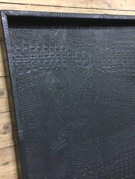 Leather tray croco black XL